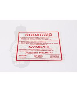 """Adesivo """" Rodaggio Piaggio"""" Vespa Smallframe"""