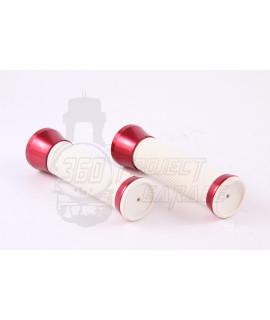 Manopole con guarniture in alluminio anodizzato Rosso, gomma bianca Stage 6