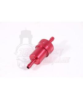 Filtro Benzina in alluminio smontabile e lavabile Rosso Ø attacchi 7,5 mm